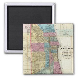 Vintage Map of Chicago (1869) Square Magnet