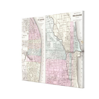 Vintage Map of Chicago and St. Louis (1855) Canvas Print