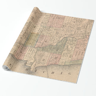 Vintage Map of Chicago Illinois (1876) Wrapping Paper