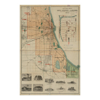 Vintage Map of Chicago Illinois (1889) Poster