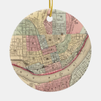 Vintage Map of Cincinnati (1780) Christmas Ornament