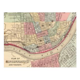 Vintage Map of Cincinnati (1780) Postcard