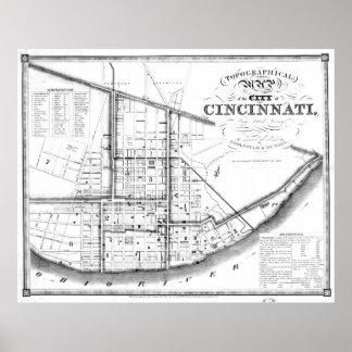 Vintage Map of Cincinnati Ohio (1841) BW Poster
