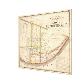 Vintage Map of Cincinnati Ohio (1841) Canvas Print