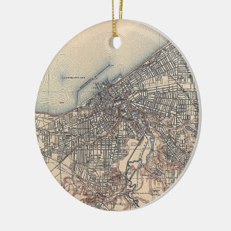 Vintage Map of Cleveland (1904) Christmas Ornament