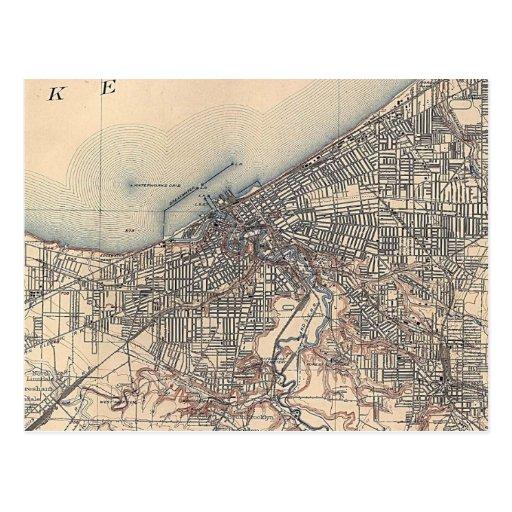 Vintage Map of Cleveland (1904) Postcard