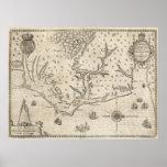 Vintage Map of Coastal North Carolina (1590) Posters