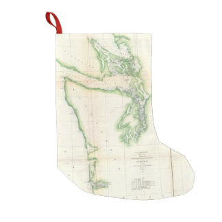 Vintage Map of Coastal Washington State (1857) Small Christmas Stocking