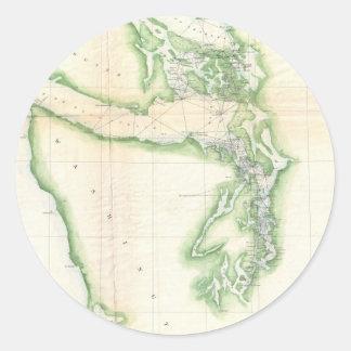 Vintage Map of Coastal Washington State (1857) Round Sticker