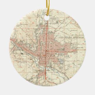 Vintage Map of Colorado Springs CO (1951) Christmas Ornament