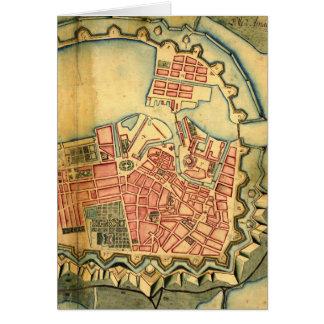 Vintage Map of Copenhagen Denmark (1728) Greeting Card