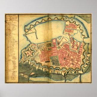 Vintage Map of Copenhagen Denmark (1728) Poster