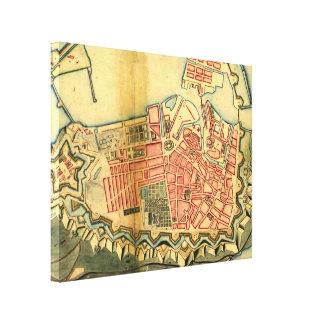 Vintage Map of Copenhagen Denmark (1728) Stretched Canvas Prints