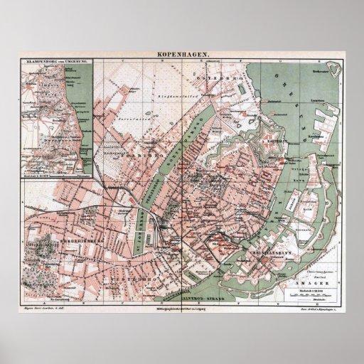 Vintage Map of Copenhagen Denmark (1888) Poster