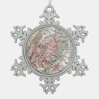 Vintage Map of Copenhagen Denmark (1888) Snowflake Pewter Christmas Ornament