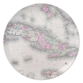 Vintage Map of Cuba (1861) Plates