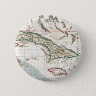 Vintage Map of Cuba and Jamaica (1763) 6 Cm Round Badge
