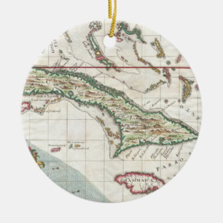 Vintage Map of Cuba and Jamaica (1763) Christmas Ornament