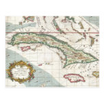 Vintage Map of Cuba and Jamaica (1763) Post Card