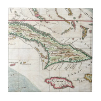 Vintage Map of Cuba and Jamaica (1763) Small Square Tile