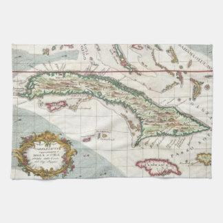 Vintage Map of Cuba and Jamaica (1763) Tea Towel