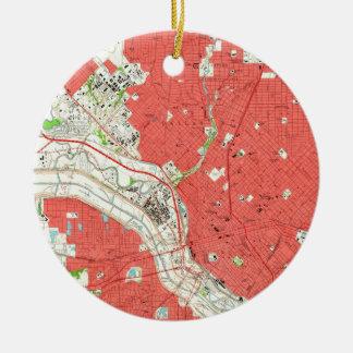 Vintage Map of Dallas Texas (1958) 2 Christmas Ornament