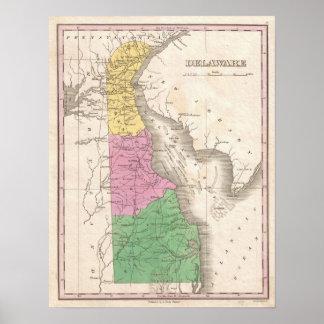 Vintage Map of Delaware (1827) Poster
