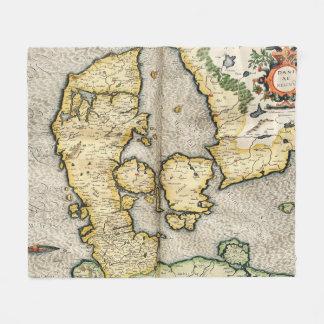 Vintage Map of Denmark (1596) Fleece Blanket
