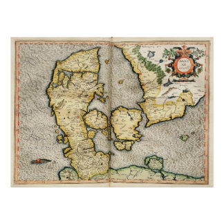 Vintage Map of Denmark (1596) Poster