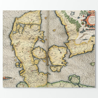 Vintage Map of Denmark (1596) Wrapping Paper