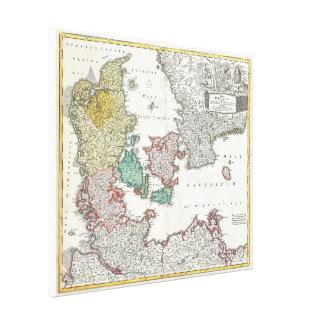 Vintage Map of Denmark (1730) Canvas Print