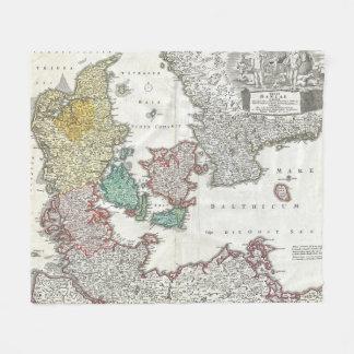 Vintage Map of Denmark (1730) Fleece Blanket
