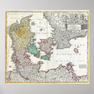 Vintage Map of Denmark (1730) Poster
