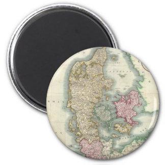Vintage Map of Denmark (1801) 6 Cm Round Magnet