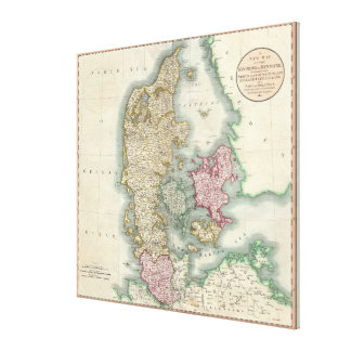Vintage Map of Denmark (1801) Canvas Prints