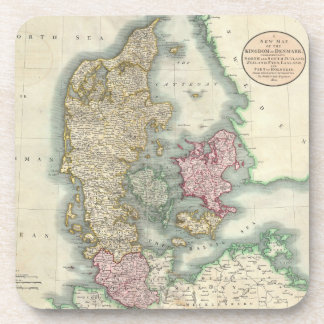 Vintage Map of Denmark (1801) Coasters