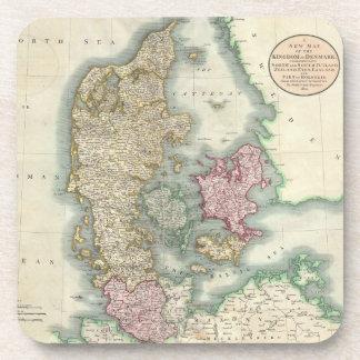 Vintage Map of Denmark (1801) Coasters