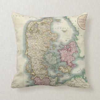 Vintage Map of Denmark 1801 Throw Pillows