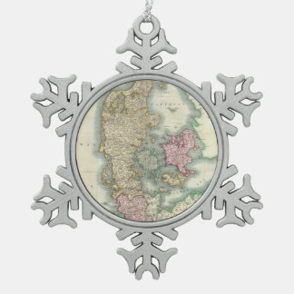 Vintage Map of Denmark (1801) Pewter Snowflake Decoration