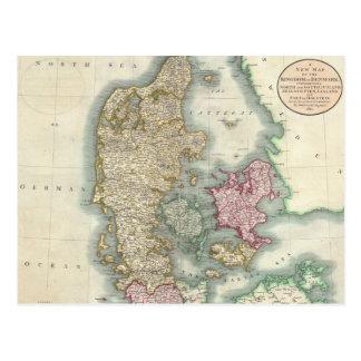 Vintage Map of Denmark (1801) Postcard