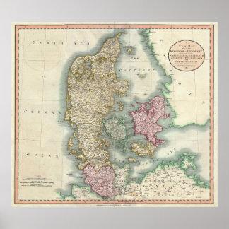 Vintage Map of Denmark (1801) Poster
