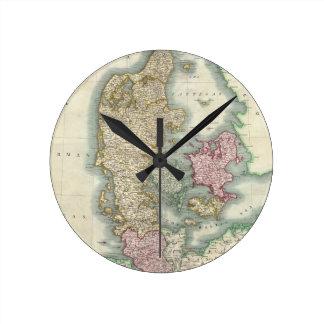 Vintage Map of Denmark (1801) Round Clock