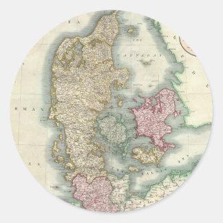 Vintage Map of Denmark (1801) Round Sticker