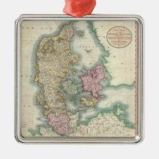 Vintage Map of Denmark (1801) Silver-Colored Square Decoration