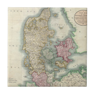 Vintage Map of Denmark (1801) Small Square Tile