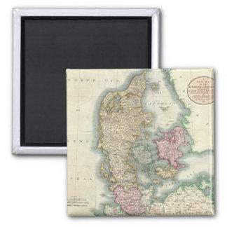 Vintage Map of Denmark (1801) Square Magnet