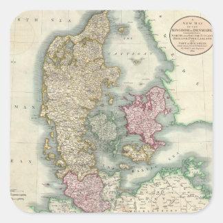 Vintage Map of Denmark (1801) Square Sticker