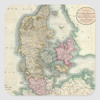 Vintage Map of Denmark (1801) Stickers