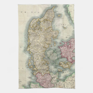 Vintage Map of Denmark (1801) Tea Towels
