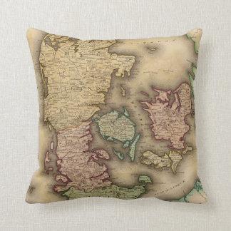 Vintage Map of Denmark 1831 Throw Pillows